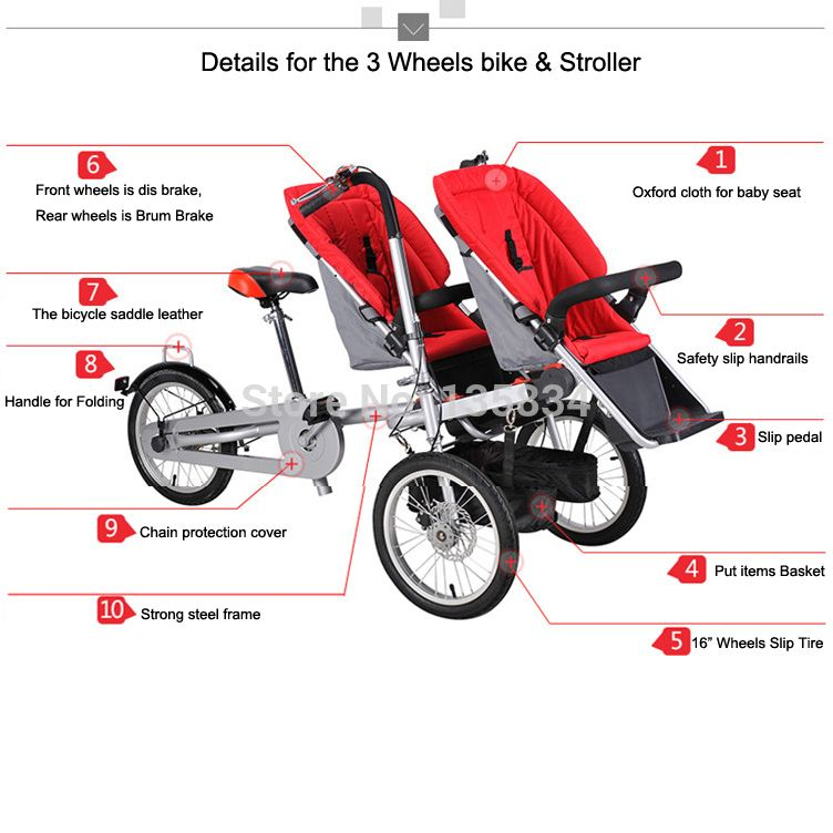 3 in 1 Folding Baby Bike Stroller 3 Wheel One//Two Seat Mom Baby Bicycle Carrier