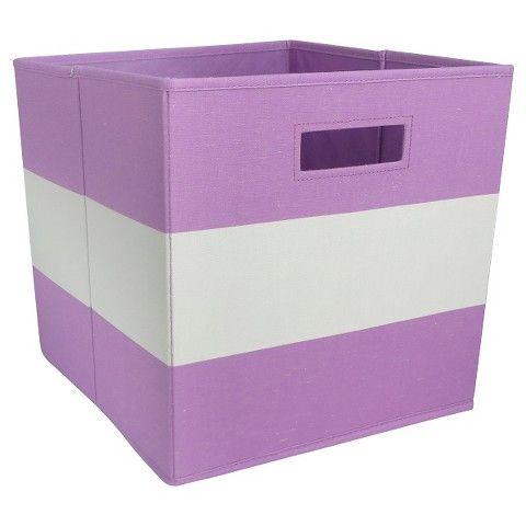 Fabric Cube Storage Bin Purple Stripe Pillowfort