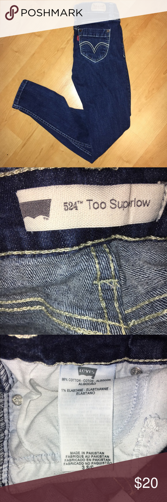 Levi's 524 Too Superlow Jeans Levi's 524 Too Superlow skinny jeans in a medium/dark wash. In good condition. Size 3 short. Levi's Jeans Skinny
