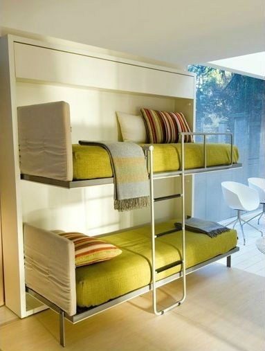 Bunk Bed With Fold Up Ladder And Pull Out Integrated Protection Guard Koyeseng Seng Gjesterom