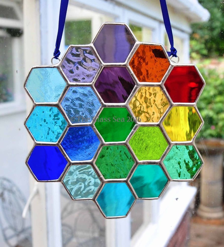 Bee Honeycomb Rainbow Stained Glass Art Suncatcher Handmade - by The Glass Sea
