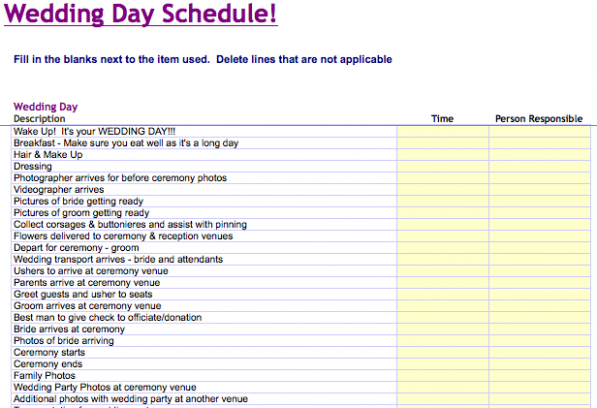 Wedding Day Template Free Printable Wedding day schedule