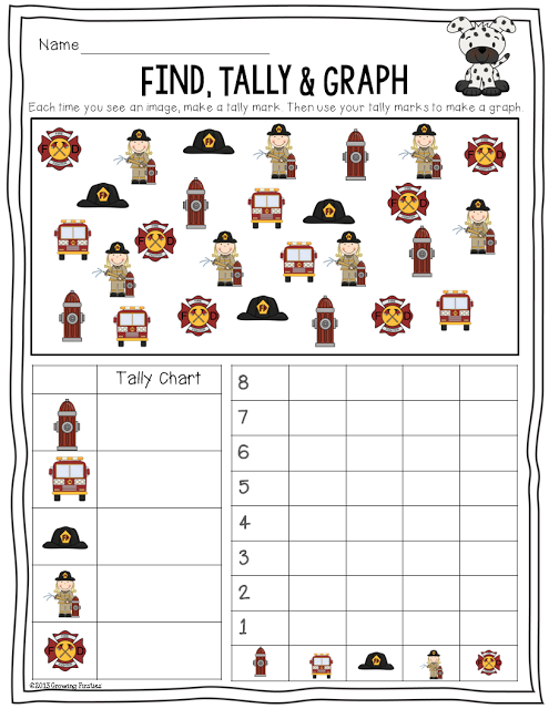 Primary Chalkboard: Fire Safety Find, Tally & Graph Freebie! | Fire ...