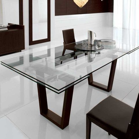 With White Or Gold Base Kasala   Modern, Bold, Glass Extension Dining Table    Modern Furniture Seattle