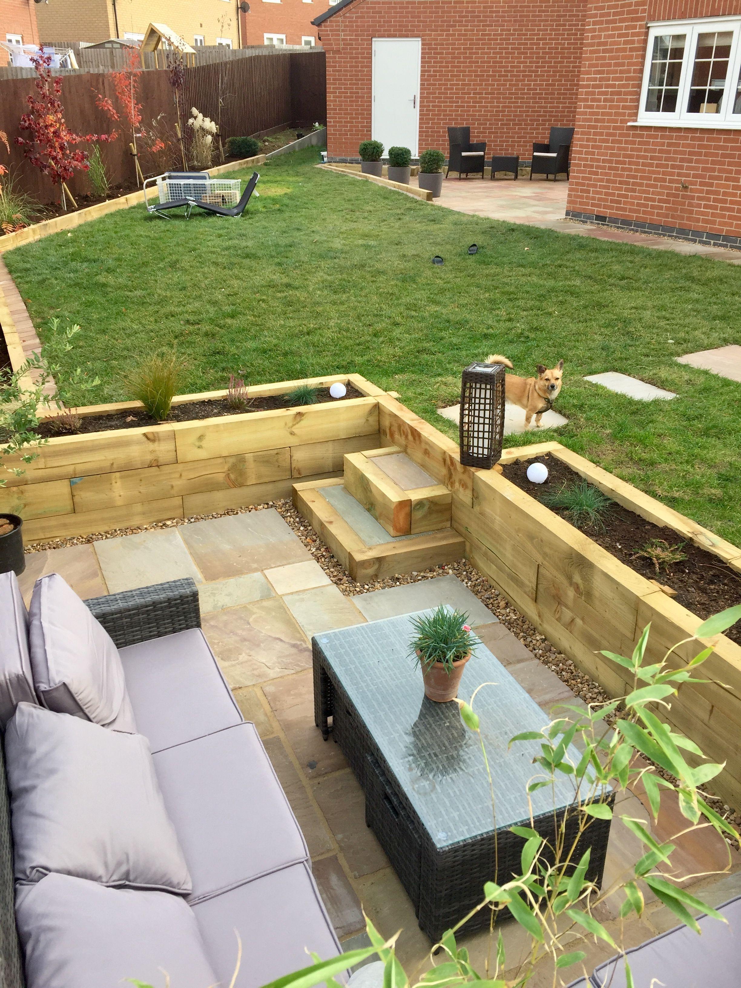 sunken patio garden seating area