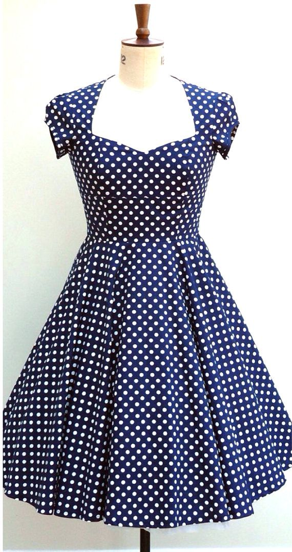 Navy and white polka dot, fifties inspired cotton swing dress ...