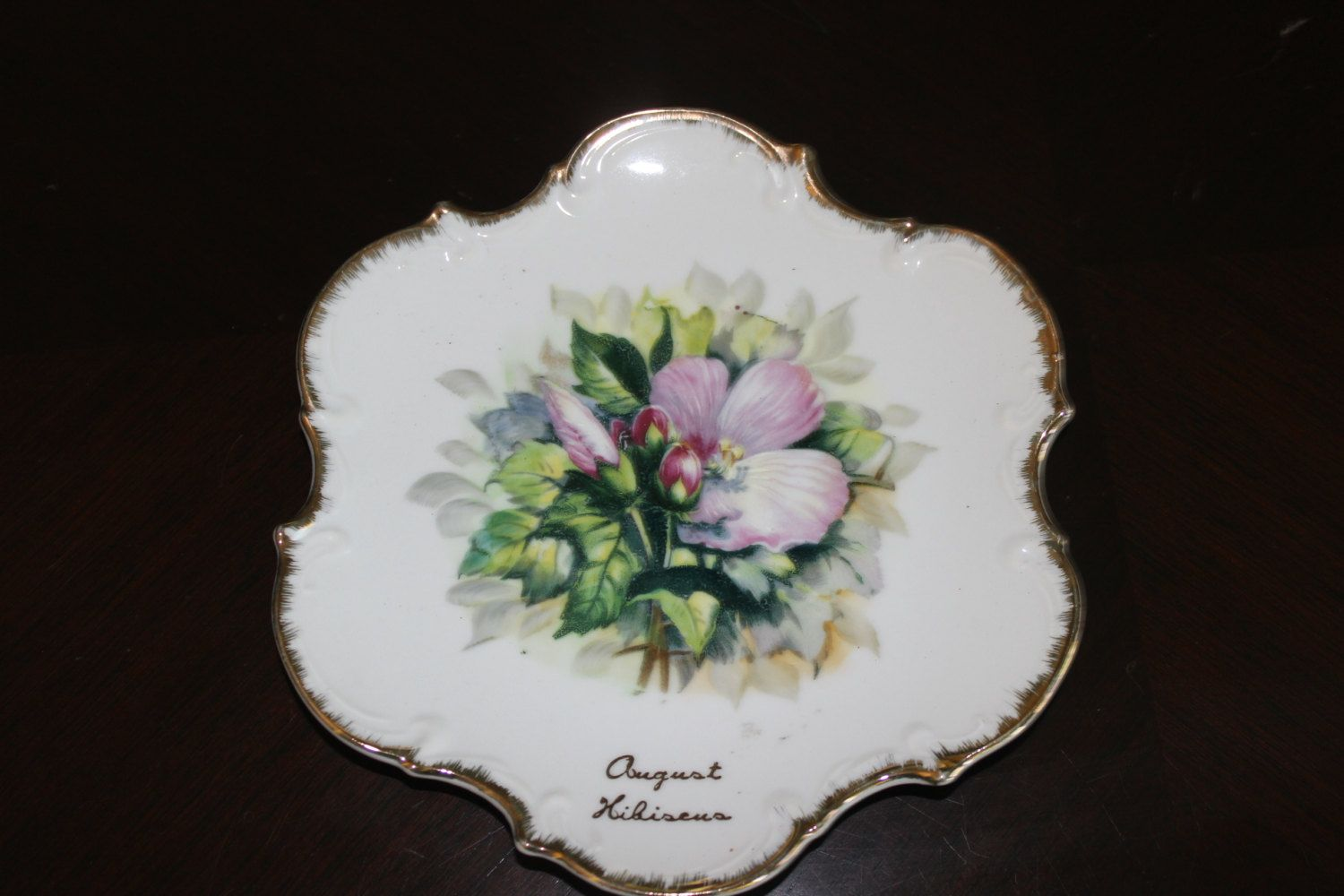 August Birth Month Plate Poppy Flowers Gold Scalloped Trim Norcrest