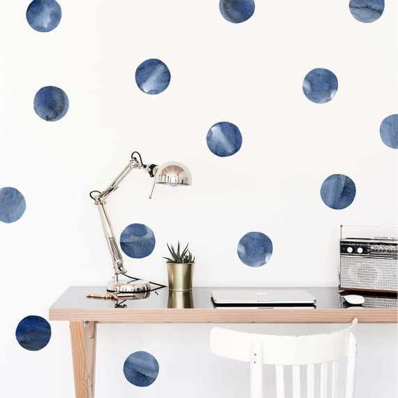 Navy Watercolor Dots Wallpaper Decals Peel And Stick Wallpaper Removable Wallpaper Blue Polka Dots Wallpaper Decals Bedroom Kids In 2021 Dots Wallpaper Cleaning Walls Rooms Home Decor
