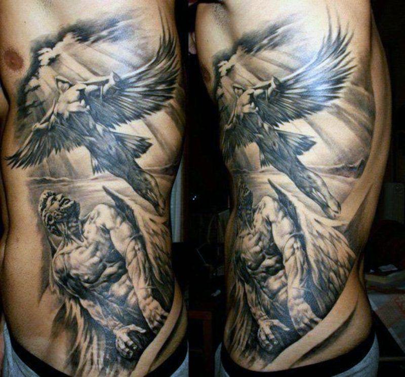Engel Tattoo Symbole Tattoos Zenideen Tatuajes Laterales Para Hombres Tatuajes Laterales Disenos De Tatuaje De Angel