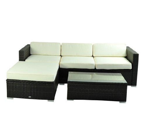 Deluxe Outdoor Patio PE Rattan Wicker 5 pc Sofa Chaise Lounge
