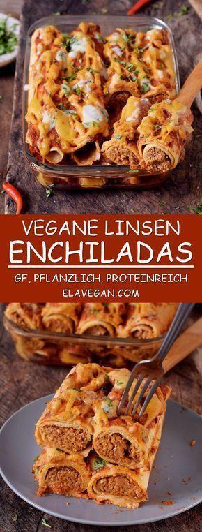 Proteinreiche, vegane Enchiladas aus Linsen und anderen gesunden, rein pflanzlichen Zutaten. Sie sind glutenfrei, nussfrei, perfekt als Mittag- oder Abendessen und sehr lecker. #veganerezepte