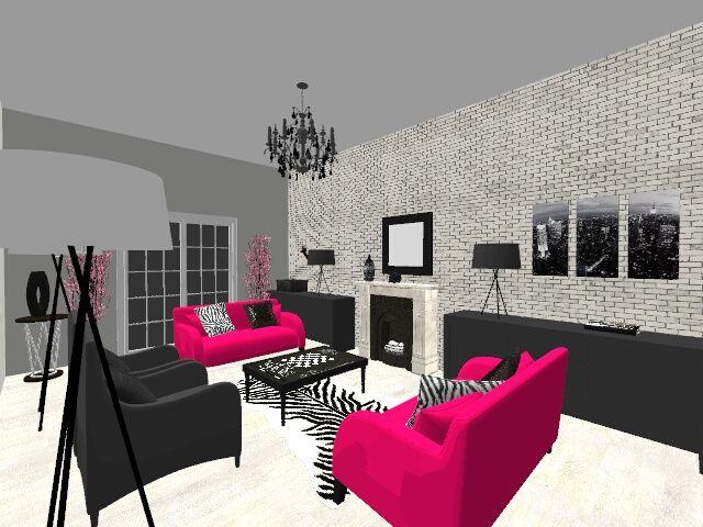 RvD 3D Black, White and Pink Living Room H o m e I