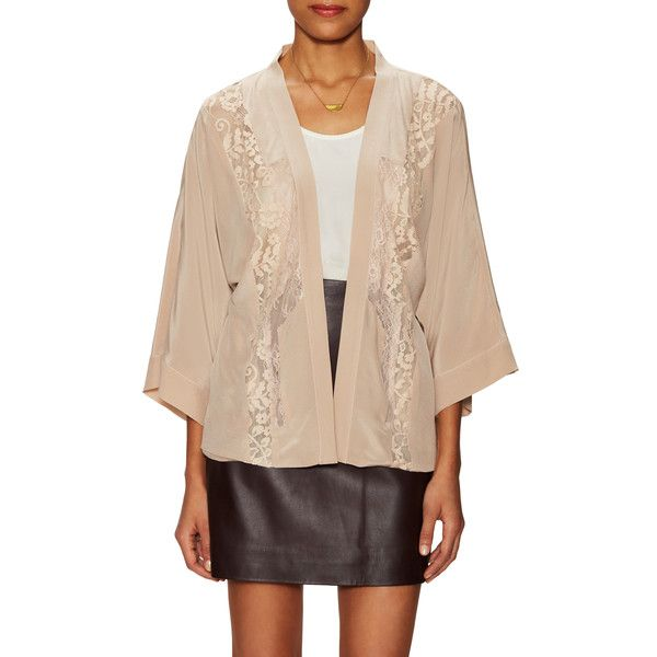 Falcon & Bloom Women's Silk Light Kimono Cardigan - Cream/Tan ...