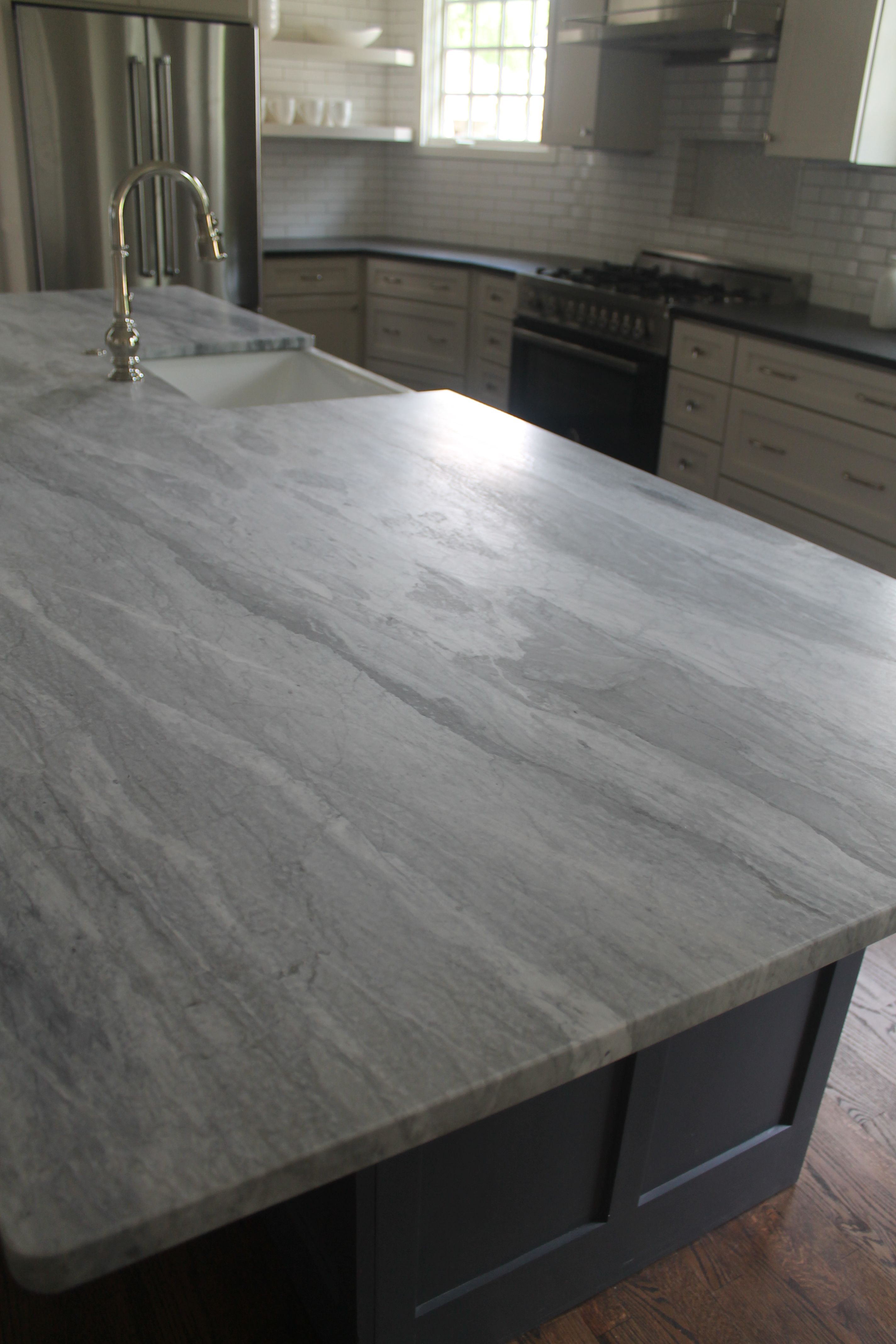 Bianco Pearla Leathered Marble Kitchen Remodeling Projects