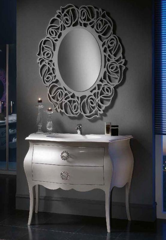 mobile bagno bombato in legno shabby chic completo di lavabo art 1370a
