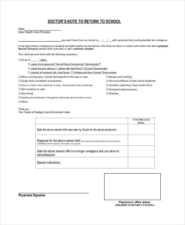 doctors note for school template