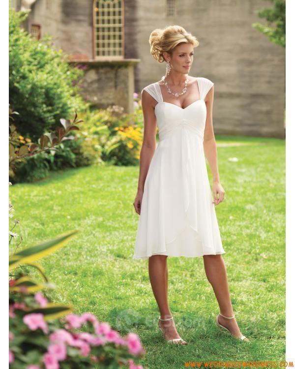 Summer Wedding Dresses Causual Ivory Casual Cap Sleeves Sweetheart Chiffon Knee Length Bridesmaid