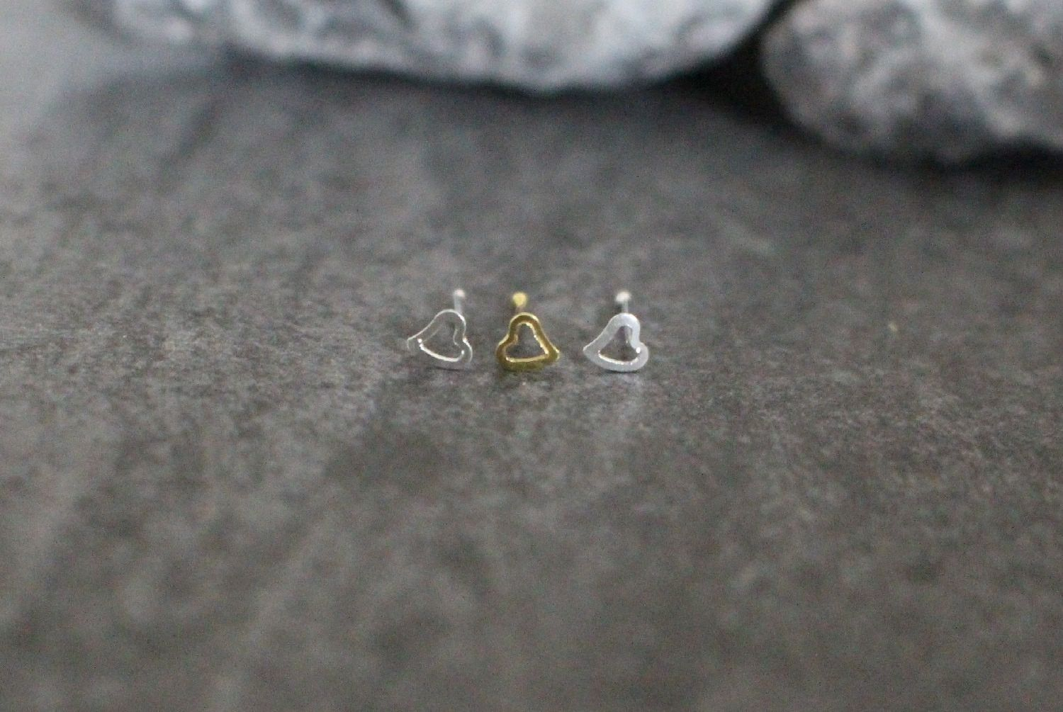 Messed up nose piercing  Heart Nose Stud in Gold  Products  Pinterest  Nose bones Nose