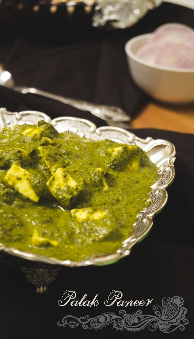 Indian Cottage Cheese In Spinach Gravy Palakpaneer