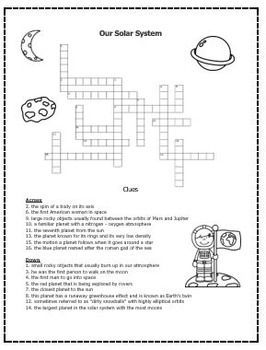 Planet Distance Activity Web Quest Crossword Teaching