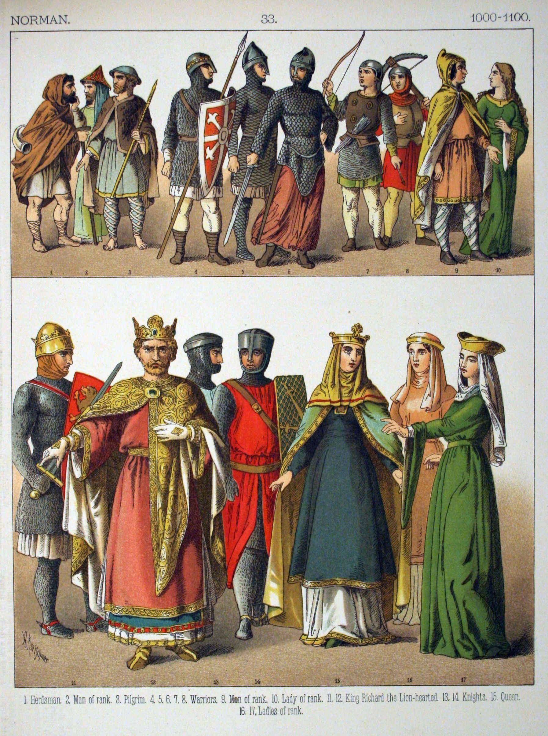 Plate from Costumes of All Nations depicting Norman styles (1000-1100) http: