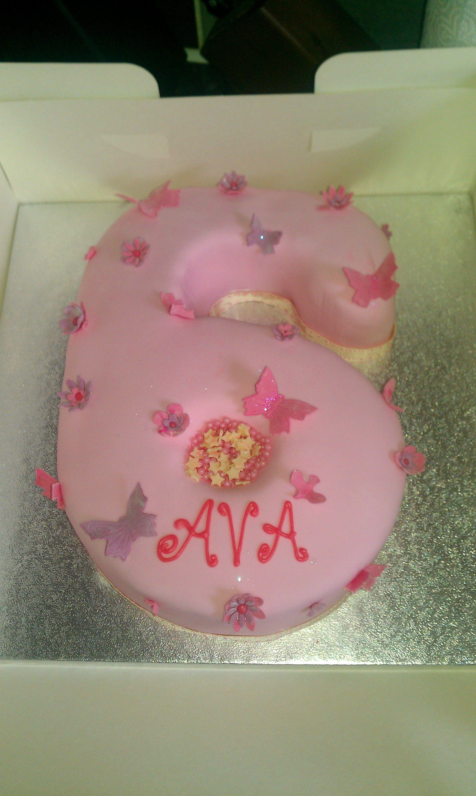 Pink Girls Number 6 Birthday Cake Kkur Pinterest Birthday