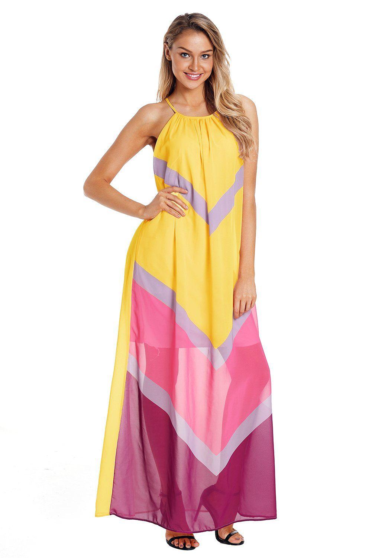 Pink dress shirt for women  Z Chicloth Yellow Chevron Color Block Halter Neck Maxi Dress
