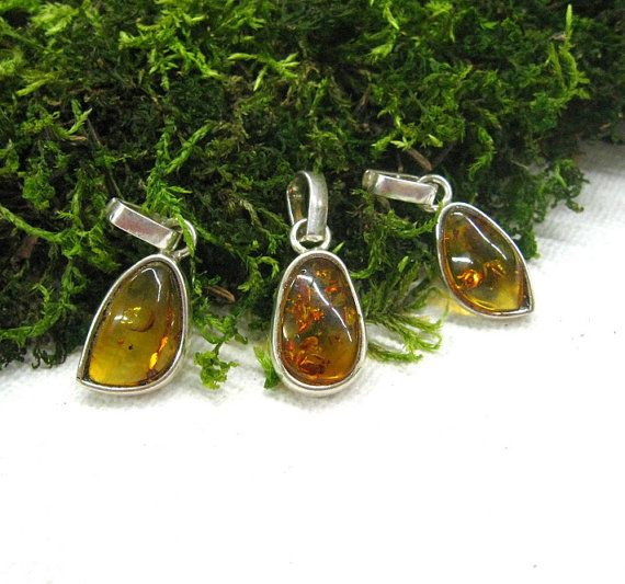 Natural Amber pendants charms set of 3 necklaces family by SanaGem