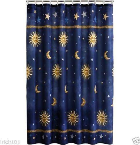 fabric shower curtain sun moon stars
