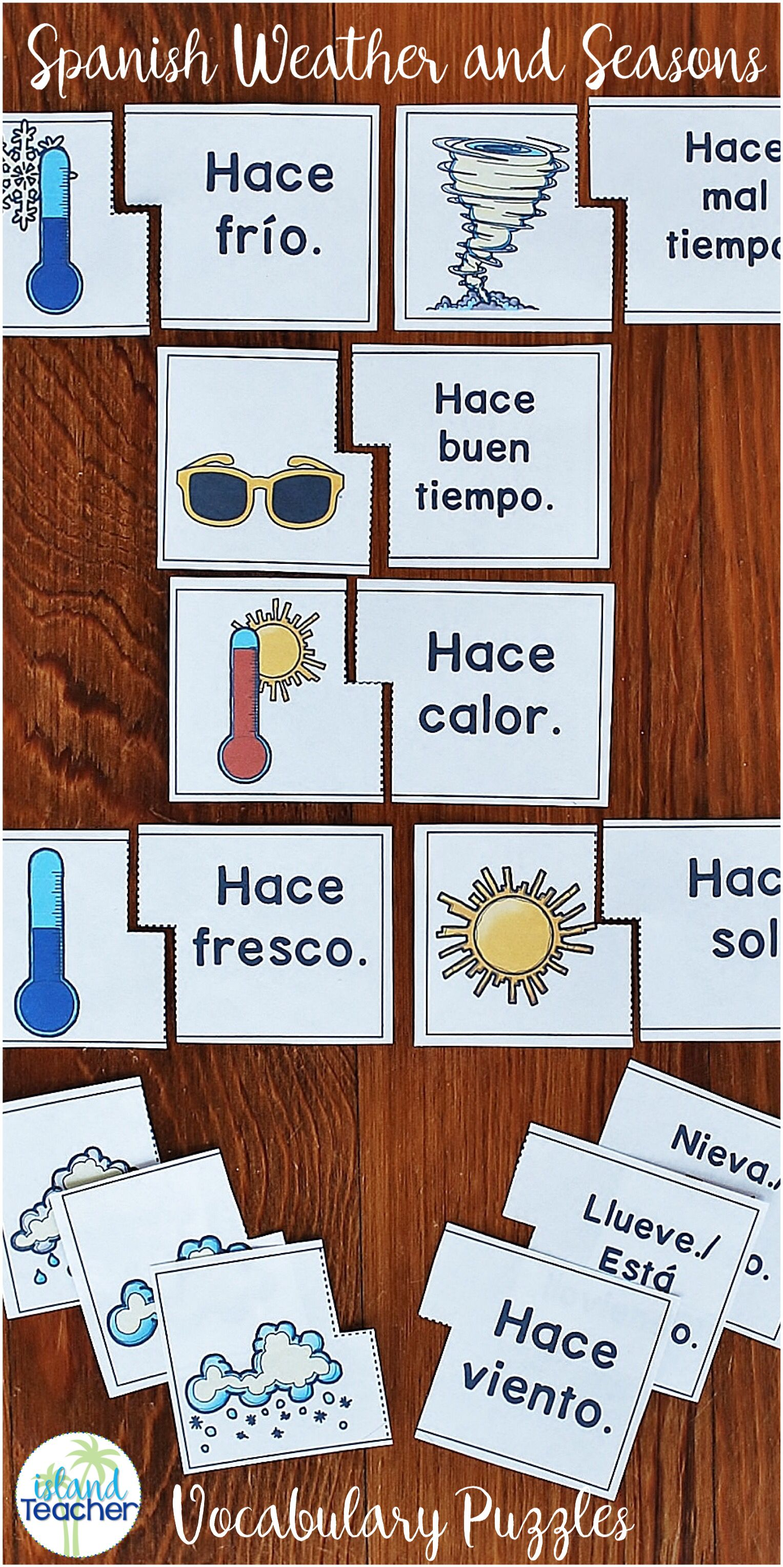 Spanish Weather And Season Matching Puzzles Includes 2 Versions
