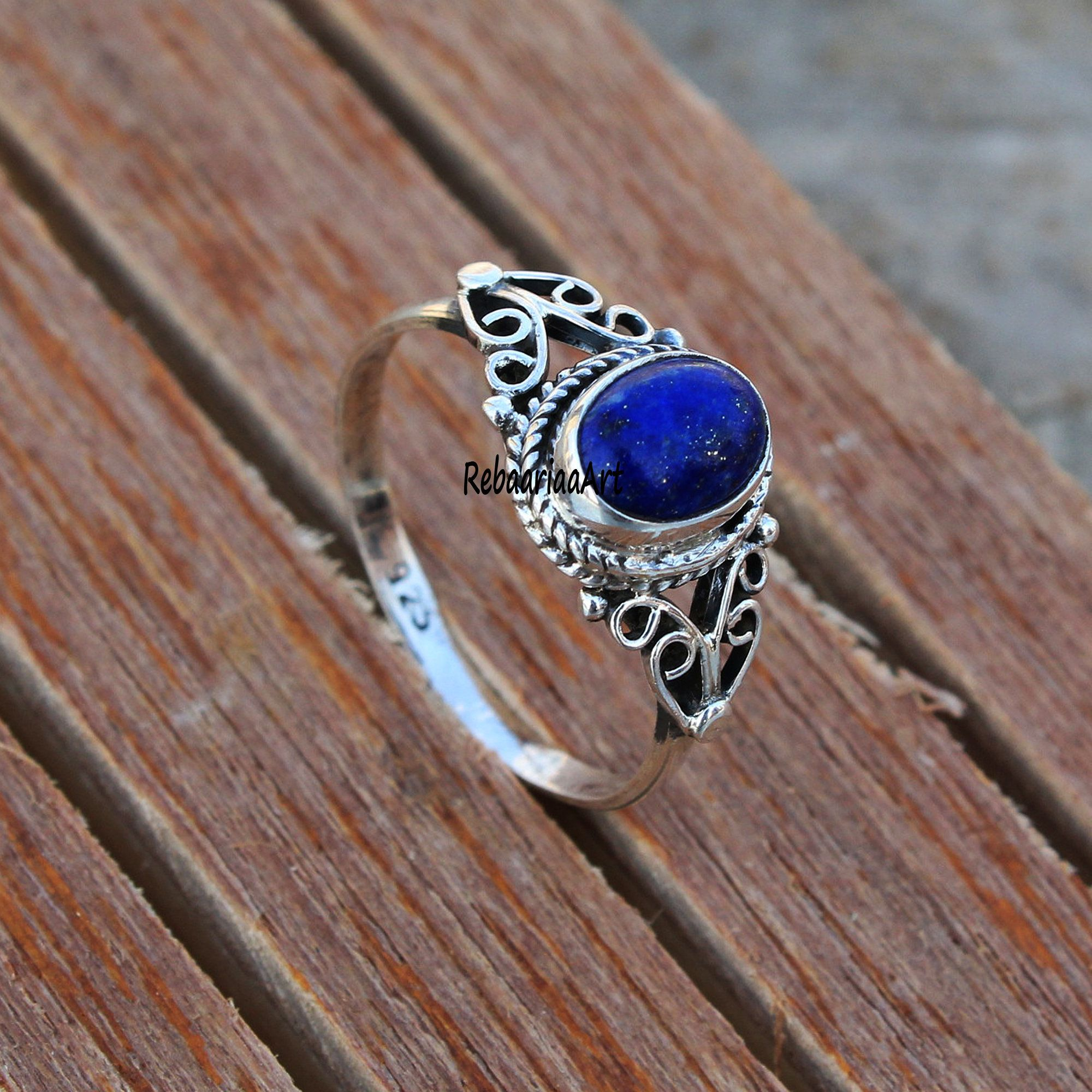 Lapis Lazuli Ring Sterling Silver Ring Blue Stone Ring Lapis Cabochon Gemstone Ring Birthday gifts Artisan Silver Jewelry Gift for her