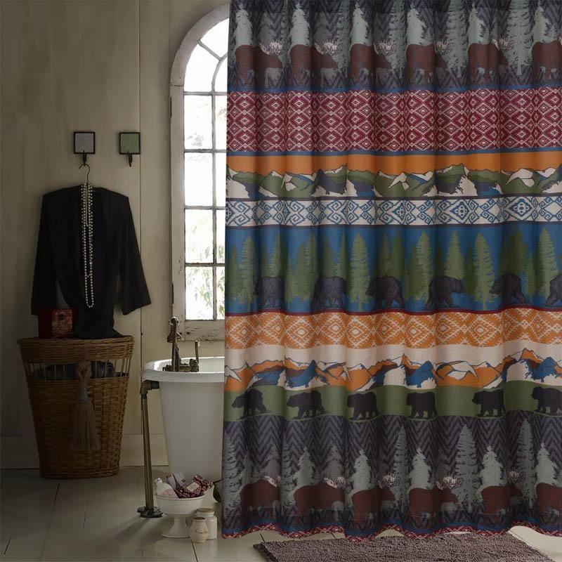 Black Bear Lodge Multi Bath Shower Curtain Black Bear Lodge