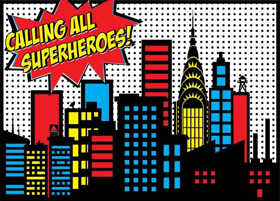 Superhero City Backdrops Noah's superhero birthday ...