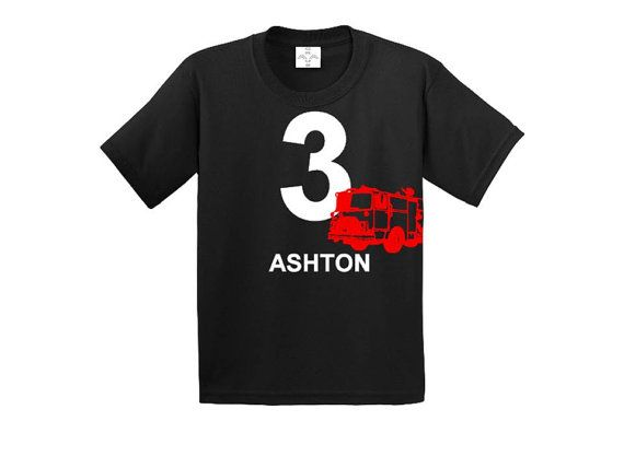 Fire Truck birthday shirt.