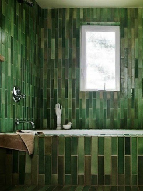 Badezimmer Und Badezimmerfliesen Farben Designs Dunkel Grün