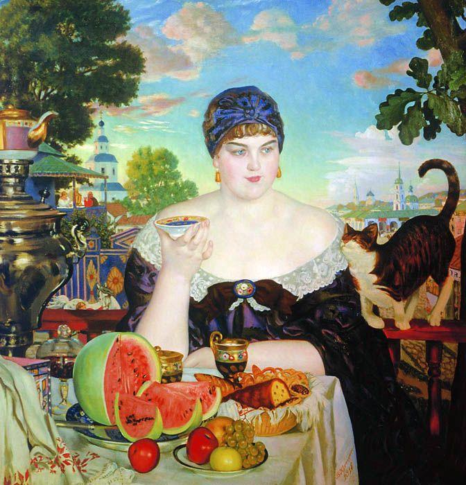 Merchant woman drinking tea Boris Kustodiev