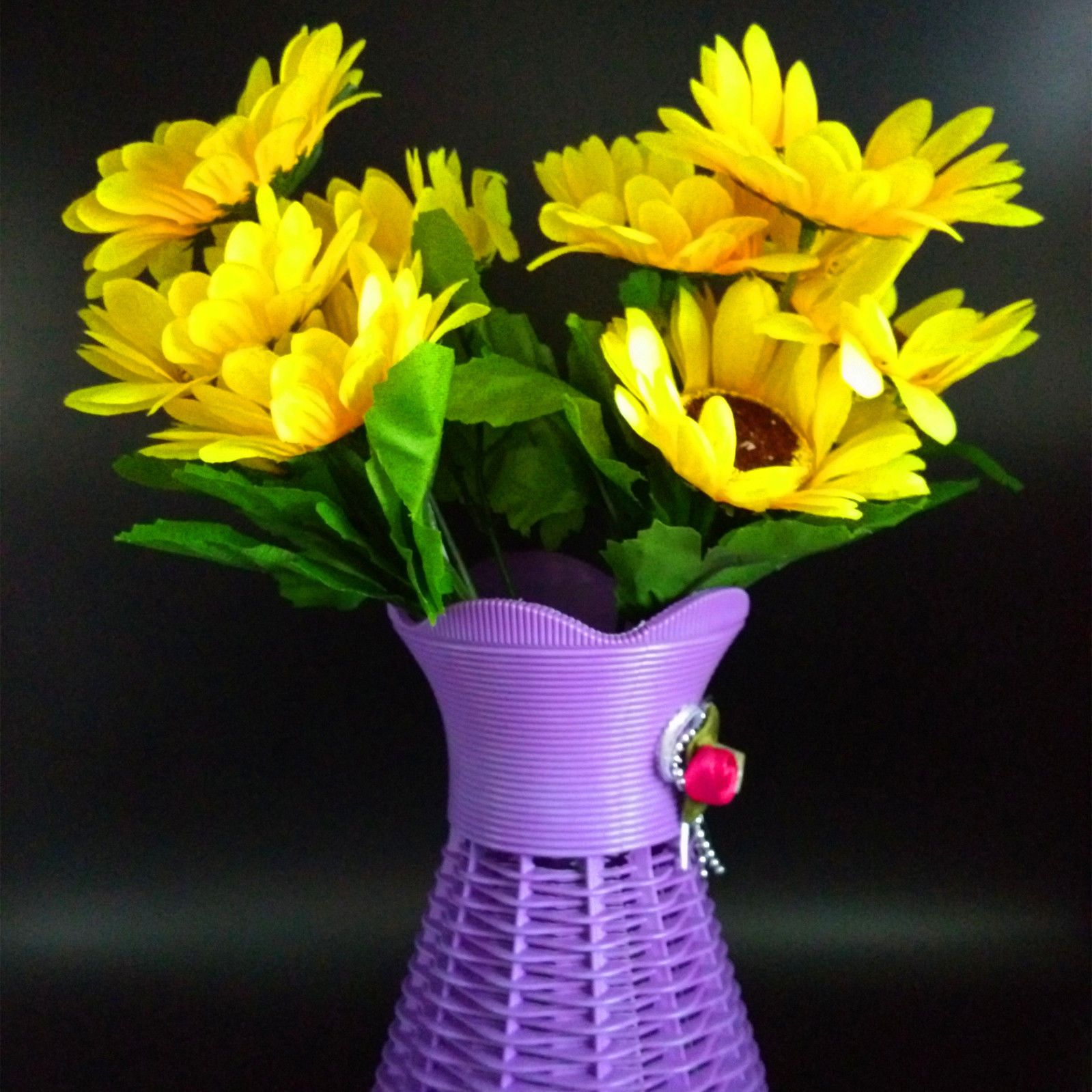 2 Bunchs Artificial Flower 10 Heads Sunflower With Purple Vase Home