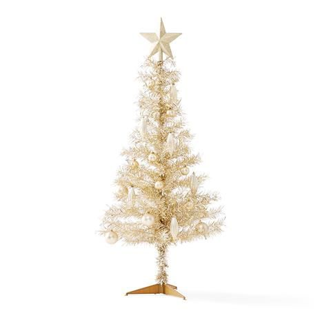 champagne tinsel christmas tree 12m 4ft kmart - Kmart White Christmas Tree
