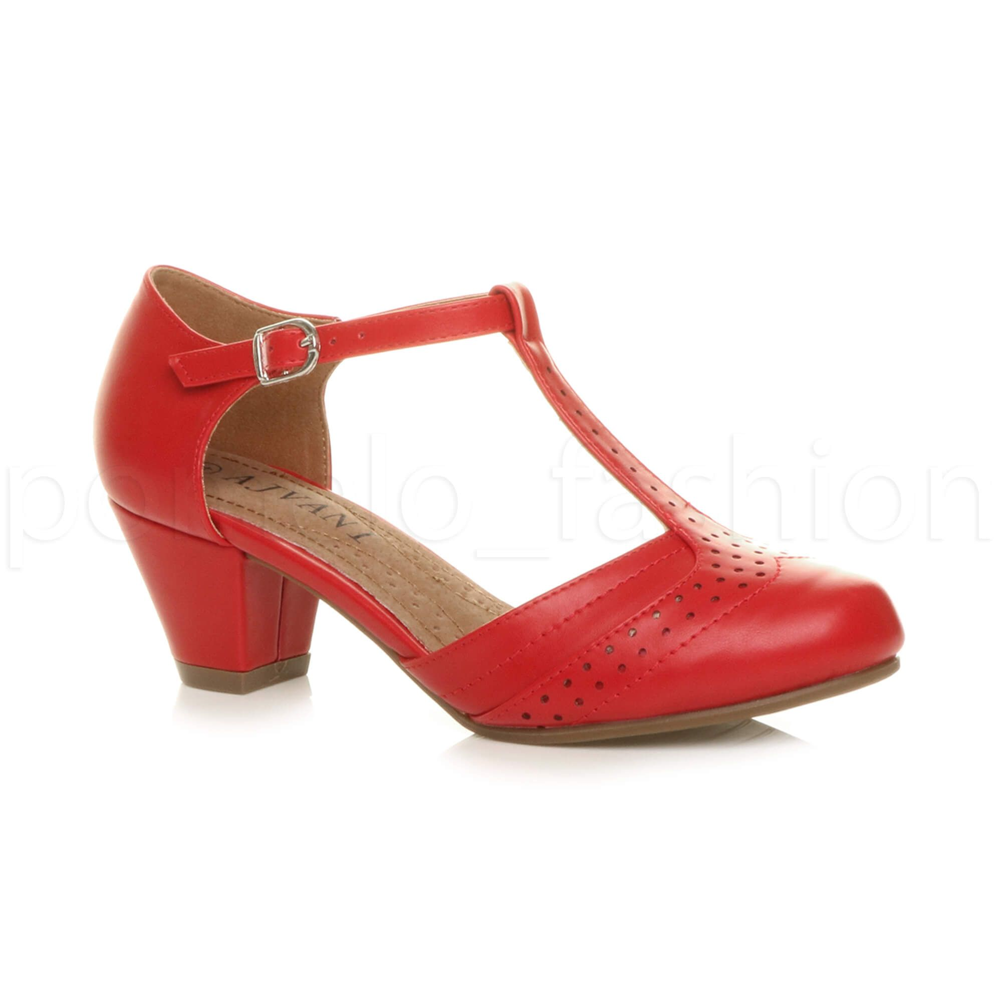 5118b69e487c1 Details about WOMENS LADIES LOW MID HEEL T-BAR MARY JANE 50'S 60'S ...
