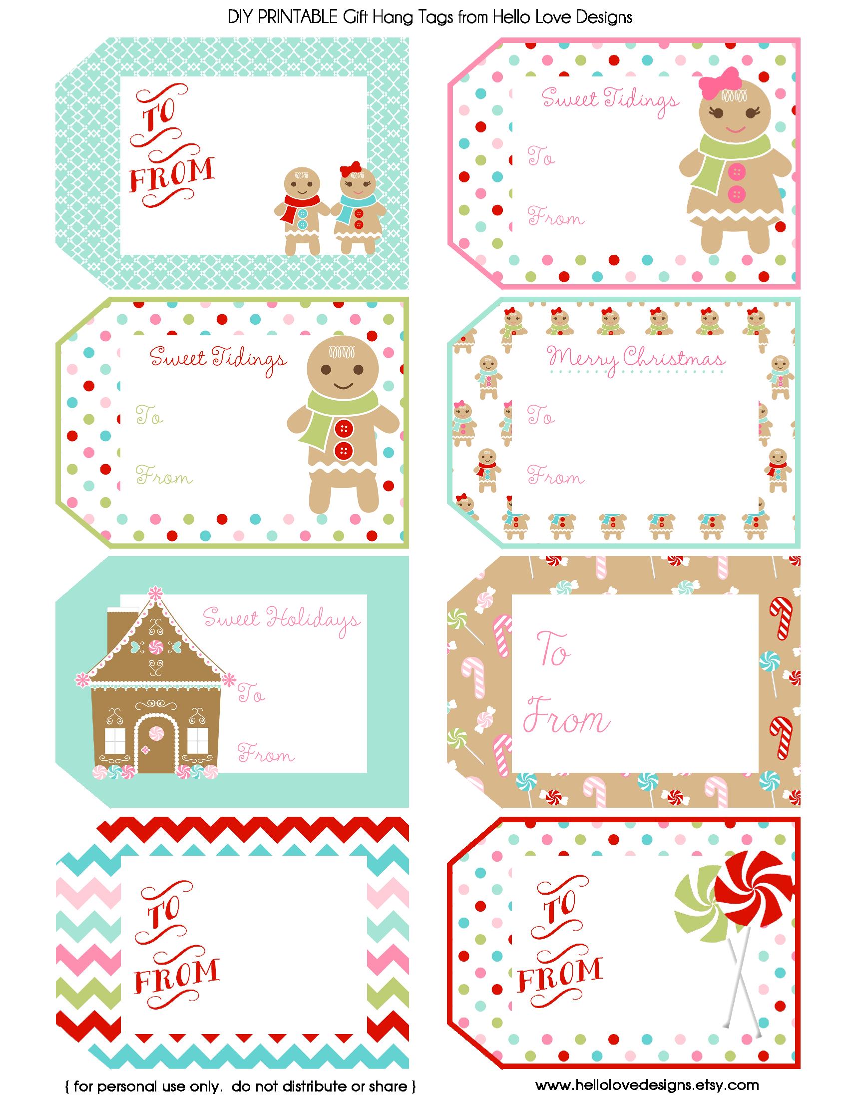 Printable Gift Hang Tags Gingerbread.pdf Etiquetas de