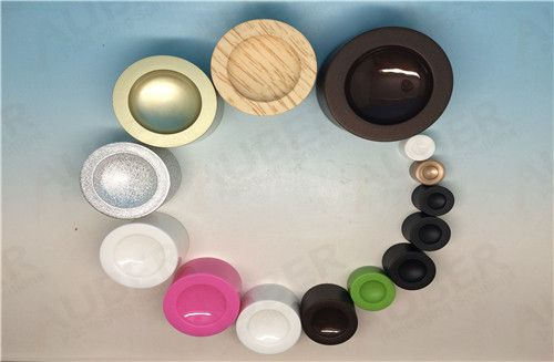 Our PATENT concave caps can be in every color, white, clear, matelized, colored, grained, etc. And also can be all in glossy, or matte, or half glossy half matte. Very flexible. Try to use this new caps to decorate your premium products!