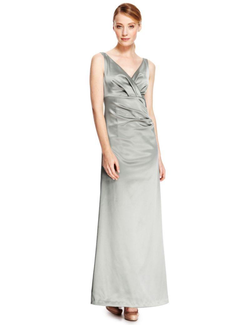 V-Neck Pleated Waist Satin Maxi Dress | Marks and Spencer bridesmaid ...
