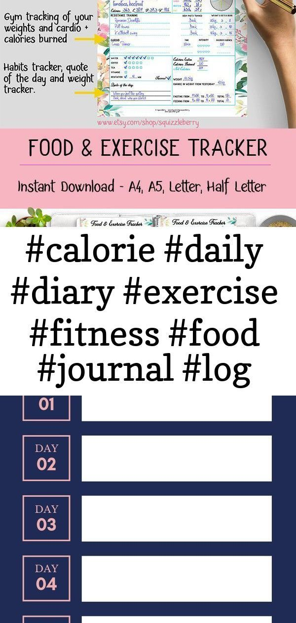 #calorie #daily #diary #exercise #fitness #food #journal #log #meal #planner #printable #tracker p 1