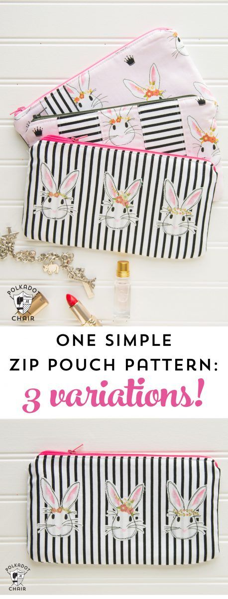 One Simple Zip Pouch Sewing Pattern 3 Ways | bolsas | Pinterest ...