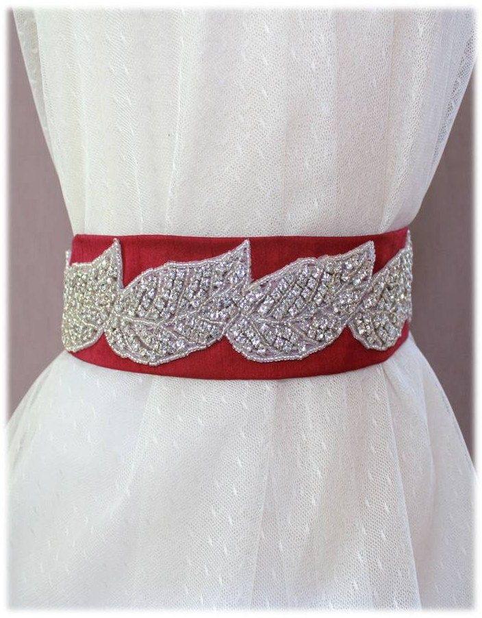 Wedding Crystal Beaded Shantung Leaf Sash, Bridal Belt