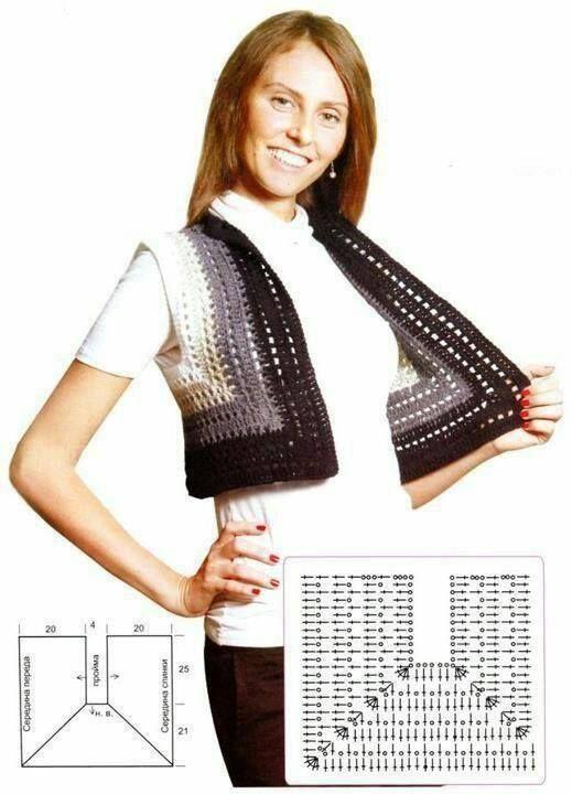 Photo of Häkelweste mit Grafik – einfach zu fertigen  —-  vest to crochet with grafics…
