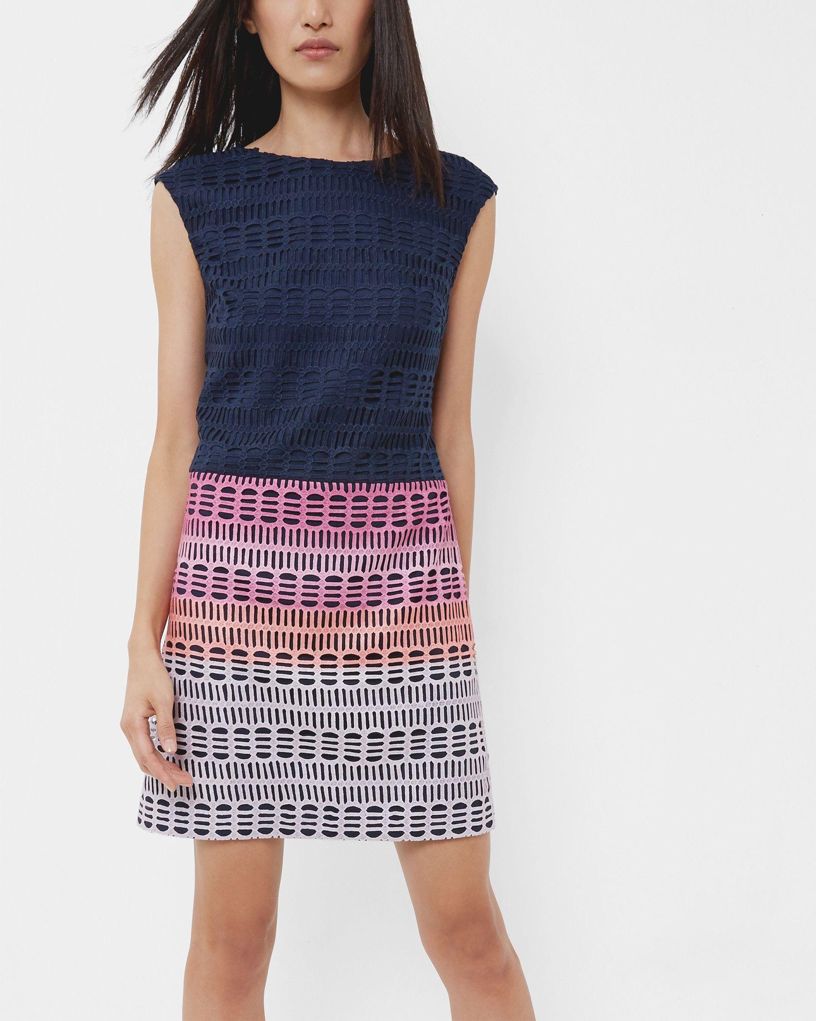 Etuikleid aus Spitze mit Marina Mosaic-Print - Marineblau | Kleider ...