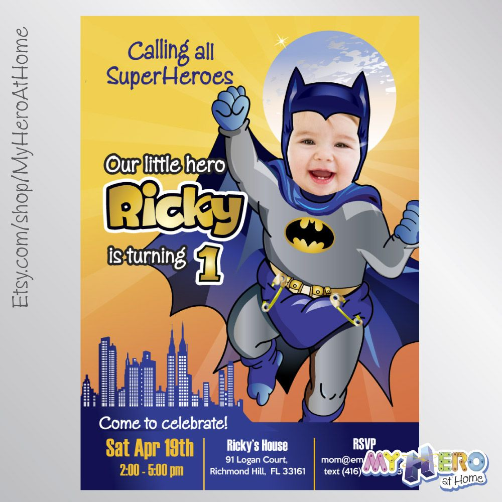 batman 1st birthday invitation turn