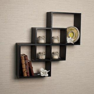 Wall Decor Shelves danya b intersecting squares decorative black wall shelf | black