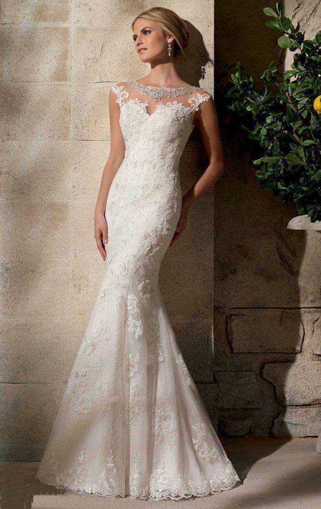 Details Zu Weiss Elfenbein Lace Ballkleid Hochzeitskleid Brautkleider